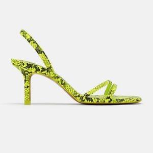 Zara lime green snakeskin strappy heels Sz 37
